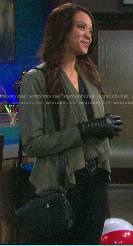 Lani's green draped front leather jacket on Days of our Lives