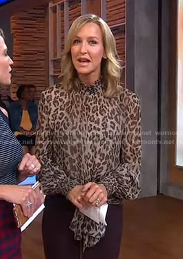 Lara's leopard tie waist blouse on Good Morning America