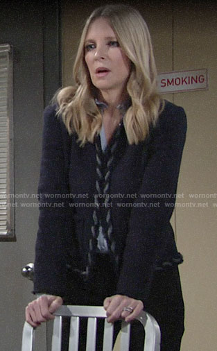 Christine's navy tweed jacket on The Young and the Restless