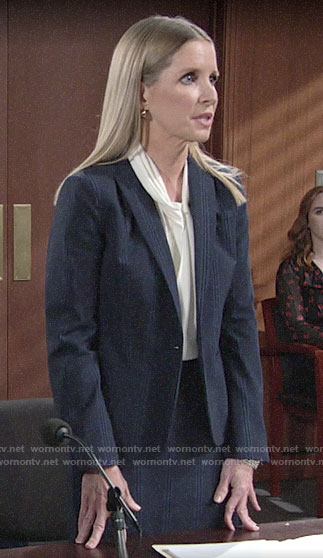 Christine's navy plaid skirt suit on The Young and the Restless