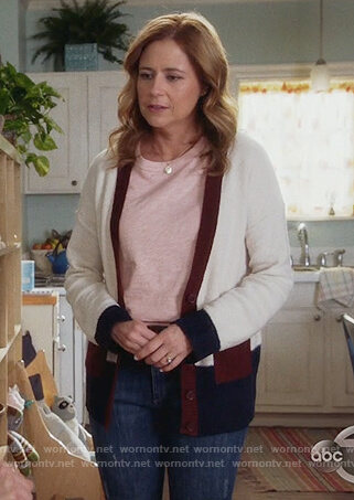 Lena's white colorblock cardigan on Splitting Up Together
