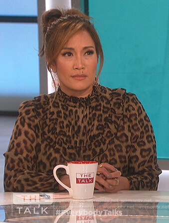Carrie's leopard print ruffle blouse on The Talk