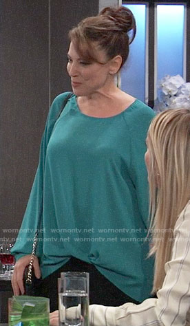 Liesl's teal tuck front blouse on General Hospital