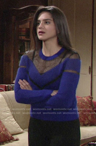 Lola's blue sheer panel sweater on The Young and the Restless