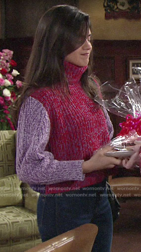 Lola's pink and purple turtleneck sweater on The Young and the Restless