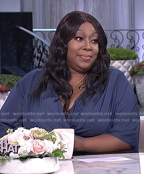 Loni's blue wrap dress on The Real