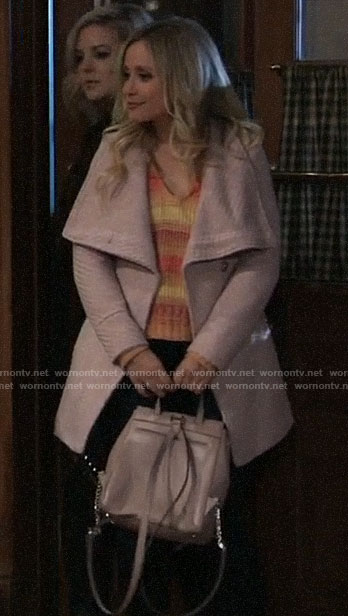 Lulu's pink textured wrap coat on General Hospital