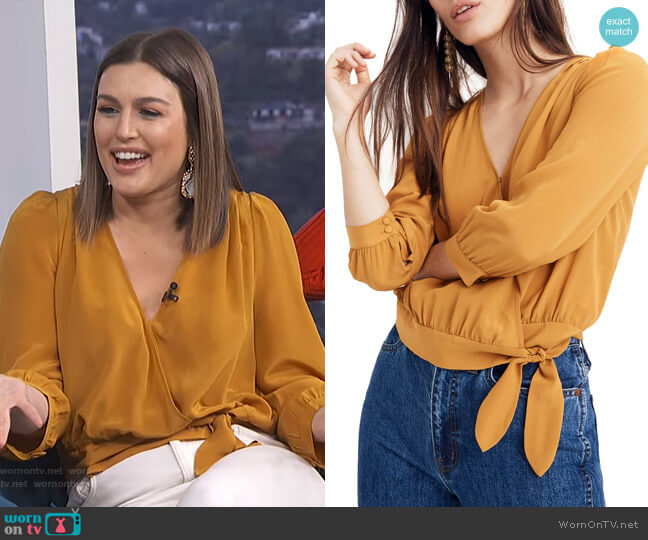 Silk Wrap Top by Madewell worn by Carissa Loethen Culiner (Carissa Loethen Culiner) on E! News