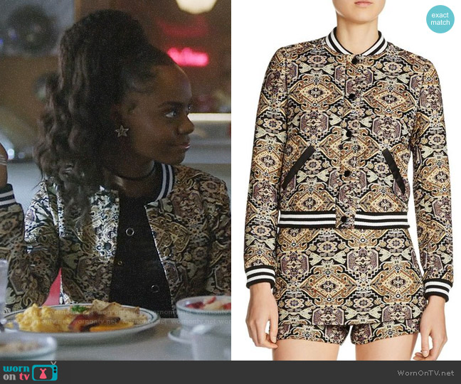Maje Baslira Tapestry-Inspired Jacquard Bomber Jacket worn by Josie McCoy (Ashleigh Murray) on Riverdale