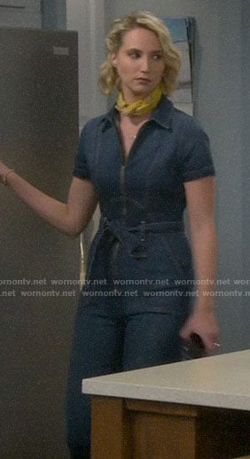 Mandy's denim jumpsuit on Last Man Standing