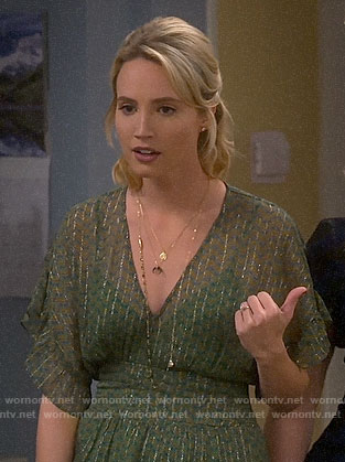Mandy's green metallic striped maxi dress on Last Man Standing