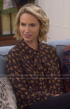 Mandy's tiger print tie-neck blouse on Last Man Standing