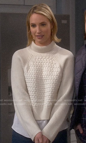 Mandy's textured turtleneck sweater on Last Man Standing