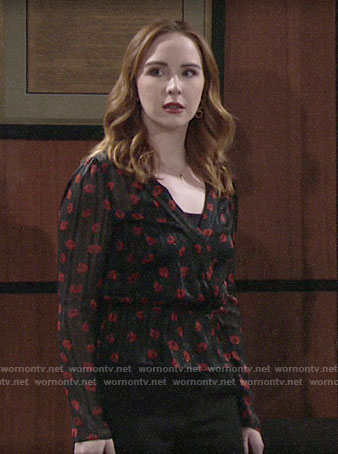 Mariah's black and red floral blouse on The Young and the Restless