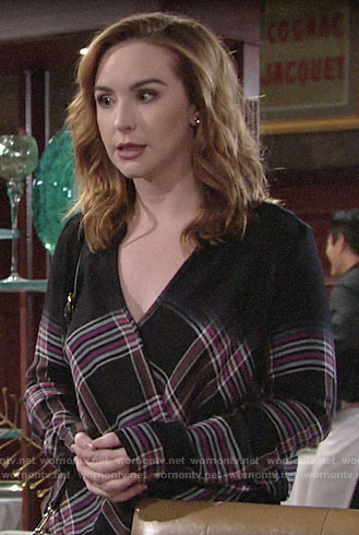 Mariah's plaid wrap top on The Young and the Restless