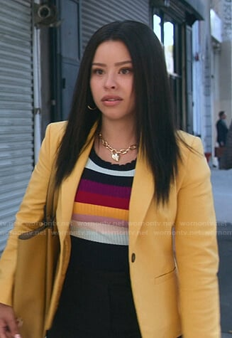 Mariana's striped ribbed top on Good Trouble