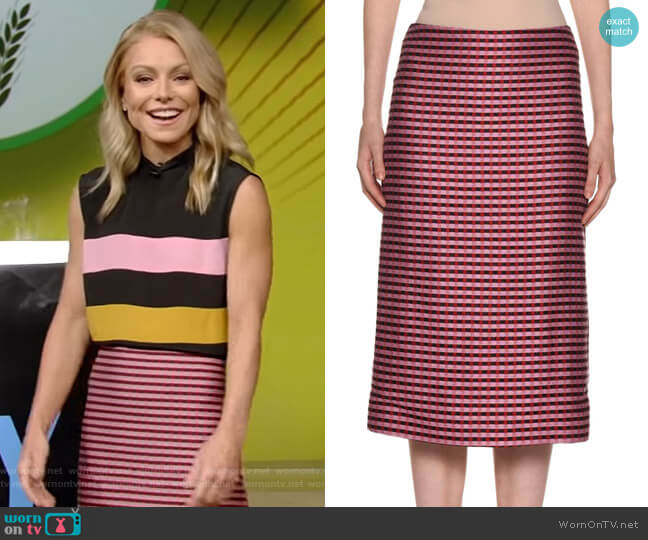 Checked-Knit Midi Pencil Skirt by Marni worn by Kelly Ripa  on Live with Kelly & Ryan