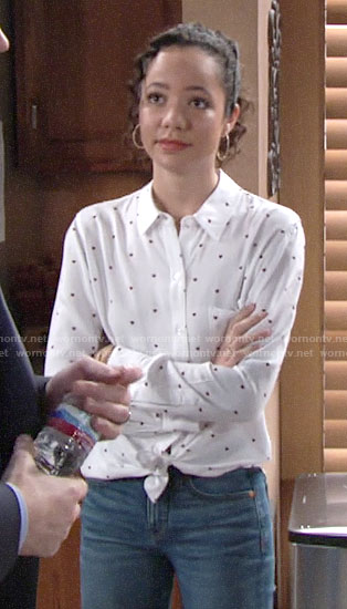 Mattie's heart print shirt on The Young and the Restless