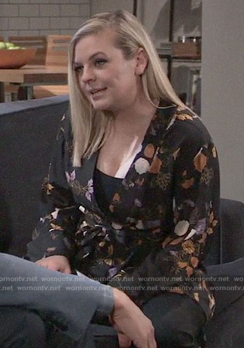 Maxie's black floral wrap jacket on General Hospital