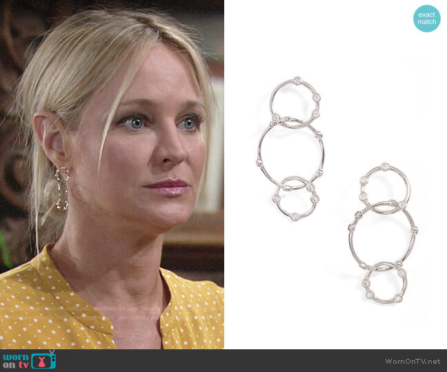 Melinda Maria Link Drop Earrings worn by Sharon Collins (Sharon Case) on The Young & the Restless