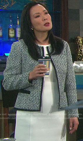 Melinda's tweed jacket on Days of our Lives