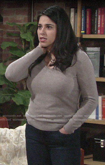 Mia's brown v-neck sweater on The Young and the Restless