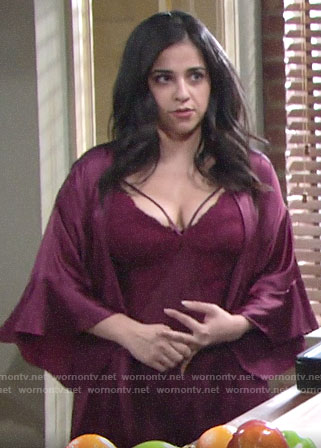 Mia's burgundy lace chemise and robe on The Young and the Restless