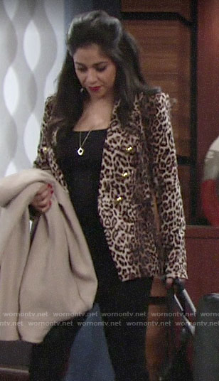 Mia's leopard print blazer on The Young and the Restless