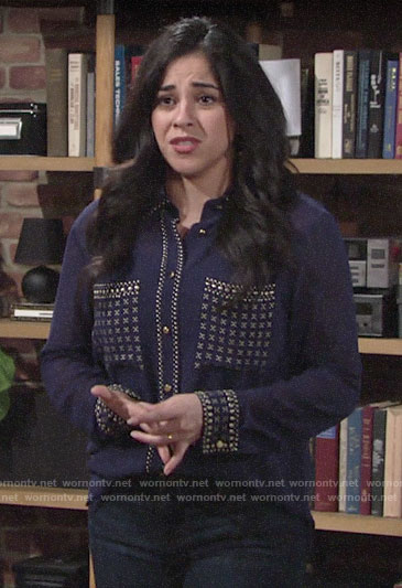 Mia's navy blue studded button down blouse on The Young and the Restless