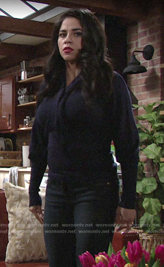 Mia's navy tie-neck sweater on The Young and the Restless