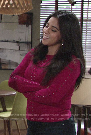 Mia's pink studded sweater on The Young and the Restless