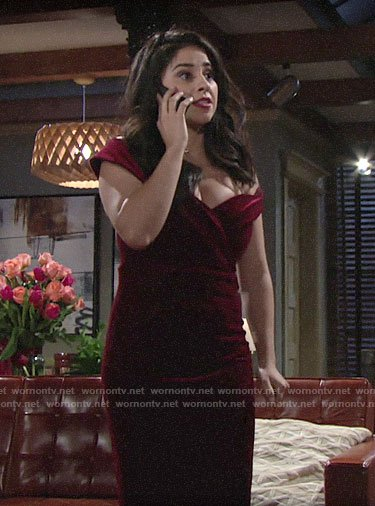 Mia's red velvet Valentines Day dress on The Young and the Restless