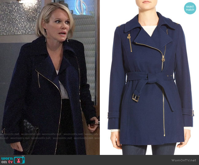 MICHAEL Michael Kors Belted Asymmetrical Zip Wool Blend Coat worn by Ava Jerome (Maura West) on General Hospital