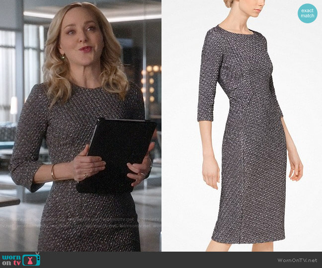 Michael Kors Houndstooth Stretch Metallic Jacquard Sheath Dress worn by Marissa Morgan (Geneva Carr) on Bull