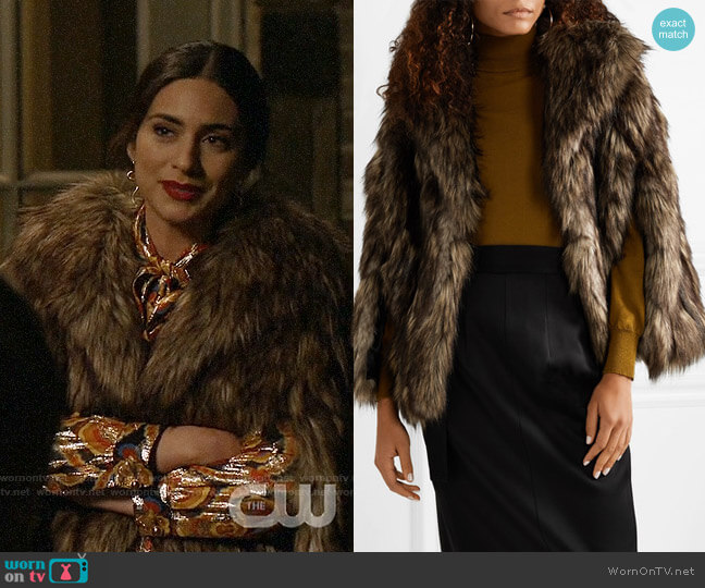 Michael Kors Collection Faux Fur Cape worn by Cristal Jennings (Ana Brenda Contreras) on Dynasty