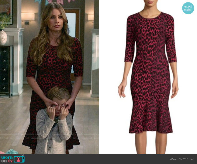 Milly Textured Leopard Mermaid Dress worn by  Gloria Pritchett (Sofia Vergara) on Modern Family