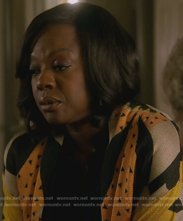 Annalise's mixed print cardigan with fringe on How to Get Away with Murder