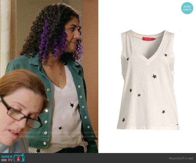 n:Philanthropy Lola V-Neck Sleeveless Top worn by Heather Davis (Vella Lovell) on Crazy Ex-Girlfriend