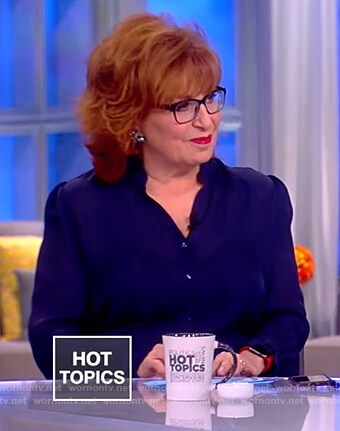 Joy's navy ruffle neck blouse on The View