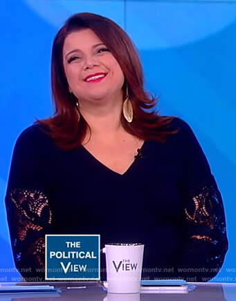 Ana's blue lace sleeve top on The View