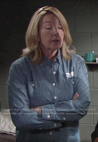 Nikki's chambray prison shirt on The Young and the Restless
