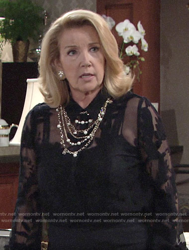Nikki's sheer black floral blouse and pearl necklace on The Young and the Restless