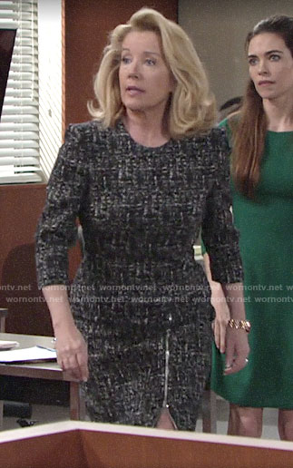 Nikki's tweed zip hem dress on The Young and the Restless
