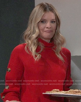 Nina's red buttoned sleeve sweater on General Hospital