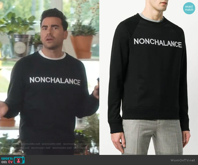 Nonchalance Embroidered Sweatshirt by No.21 worn by David Rose (Daniel Levy) on Schitts Creek