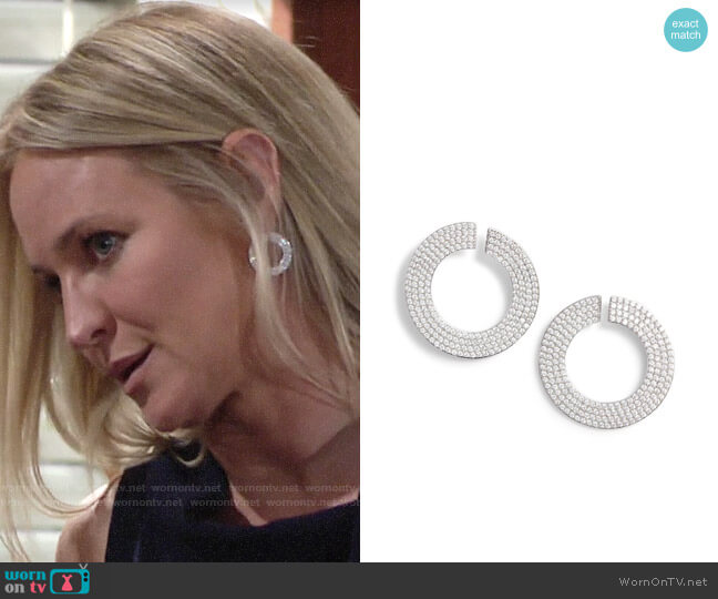 Nordstrom Pavé Spheres Flat Curl Hoop Earrings worn by Sharon Collins (Sharon Case) on The Young & the Restless