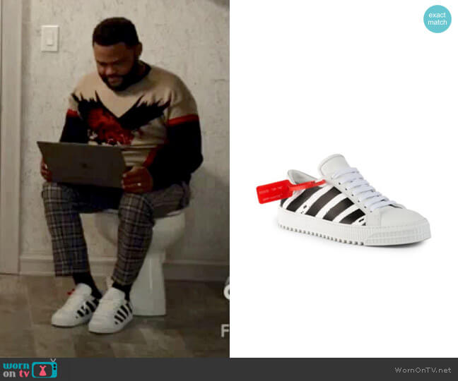 Off-White Diagonal Stripe Leather Sneakers worn by Andre Johnson (Anthony Anderson) on Blackish