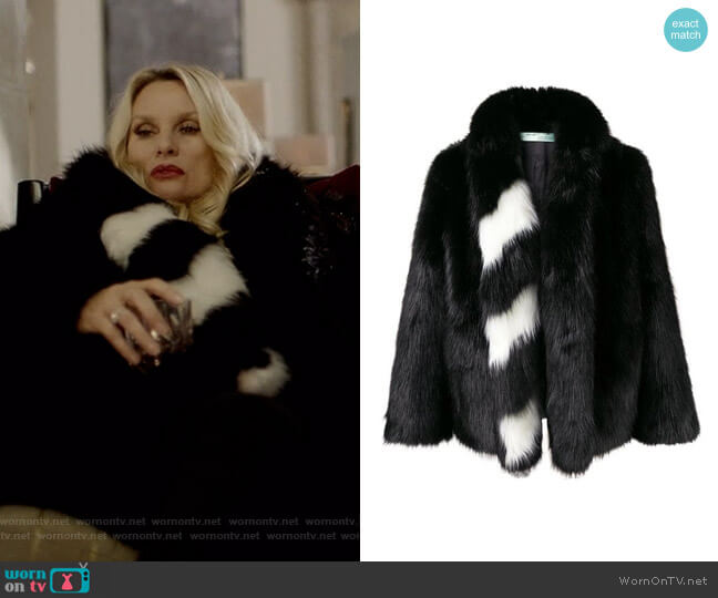 Striped Collar Fur Jacket by Off White worn by Alexis Carrington (Elaine Hendrix) on Dynasty