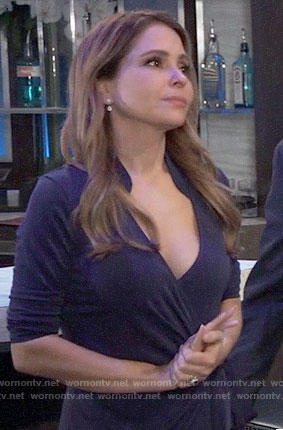 Olivia's blue wrap dress on General Hospital