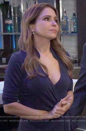 Olivia's blue wrap dress on General Hospital
